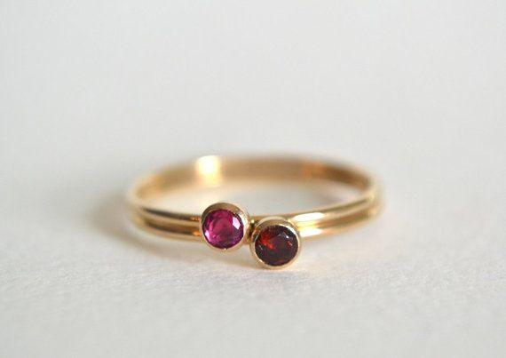 3mm Genuine Ruby Gemstone Sterling Silver Stacking Ring