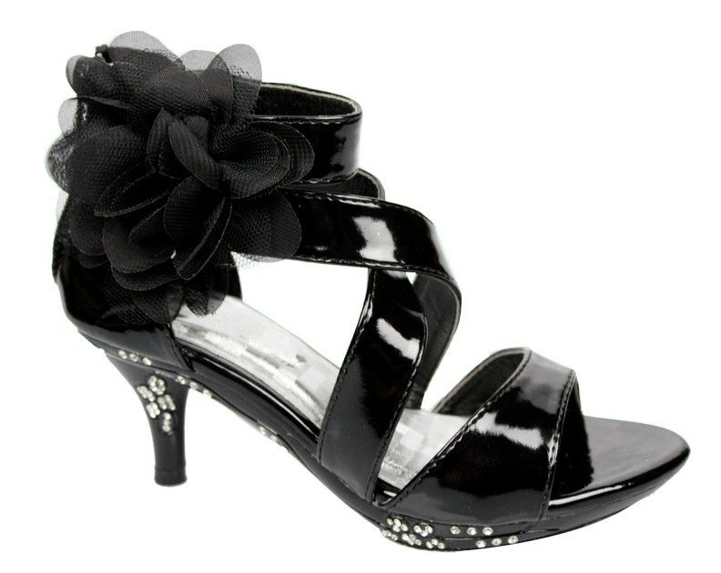 d0179bbaaaa Kids Strappy High Heel Dress Sandals Flower Black rhinestones toddler girl  shoes