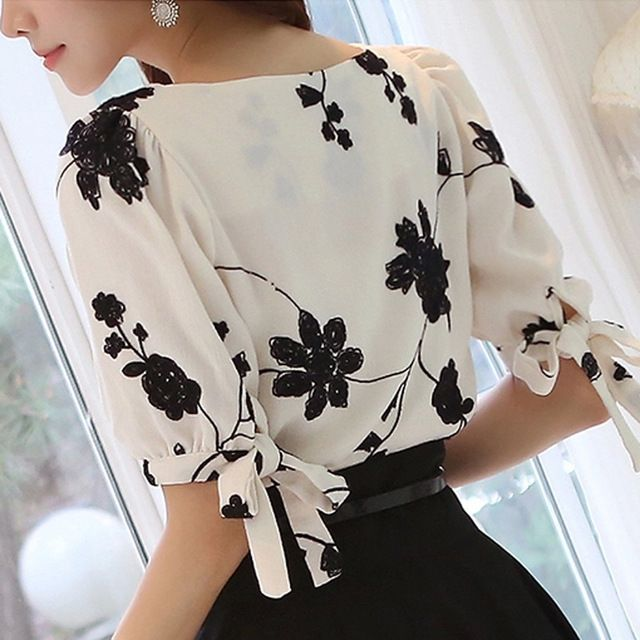 8f6006a49 Mulheres Camisa Verão Top Floral Preto Bordado Branco Fino Chiffon Blusa  Ocasional Plus Size Arco Meia Manga Da Camisa Roupas Femininas