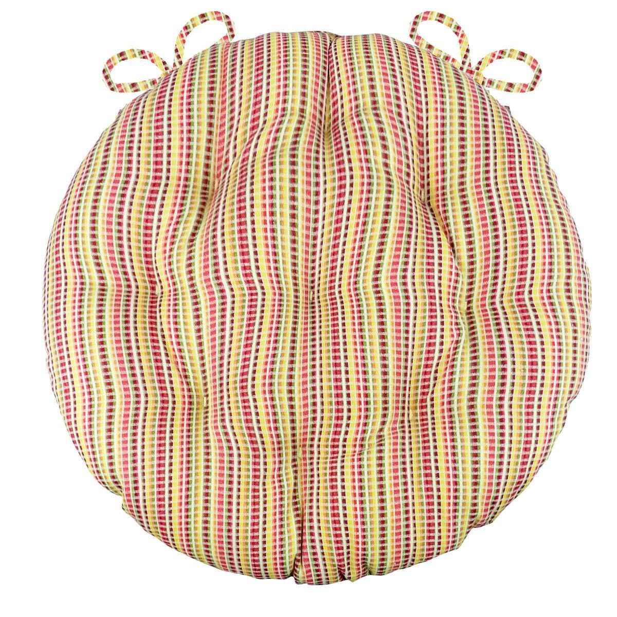 Atwood Red Bistro Chair Pad Round Cushion with Ties