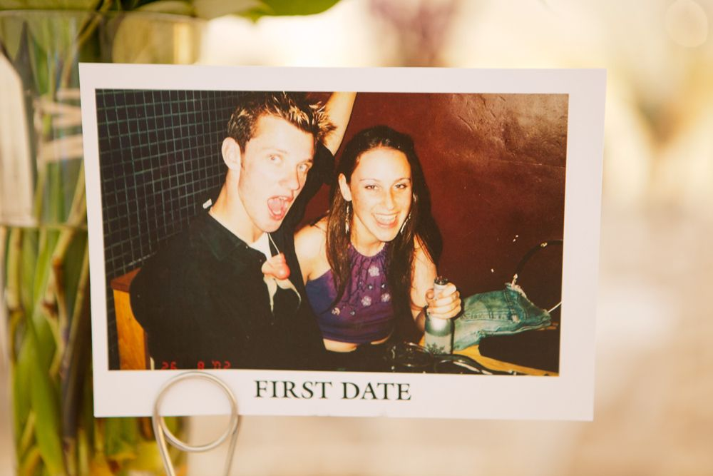 Pictures of the couple on each table