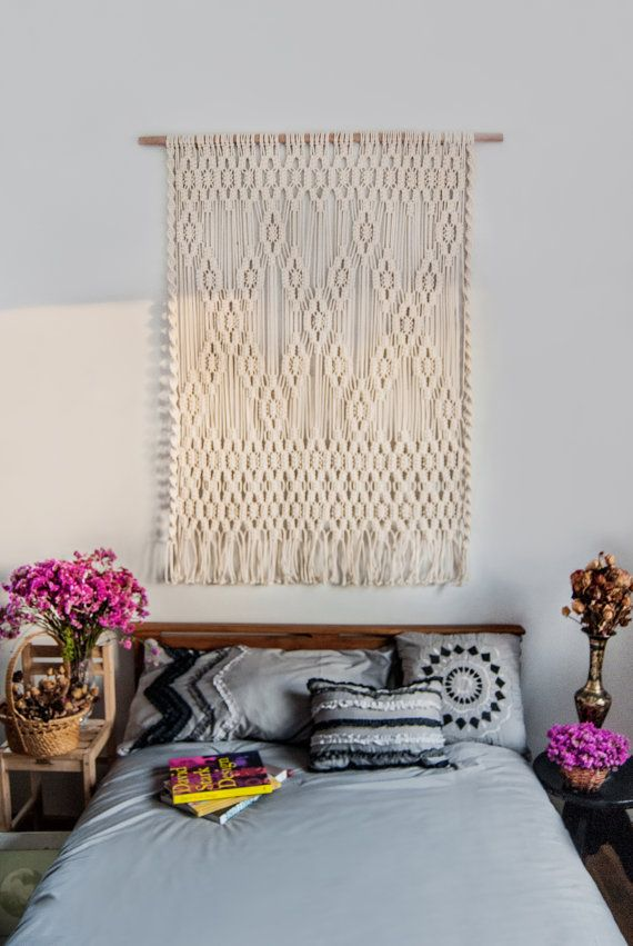 Macrame wall hanging Headboard Bedroom decor Boho wall art Tapestry Woven wall hanging is part of bedroom Decoration Hippie - TheWovenDream ref hdr shop menu