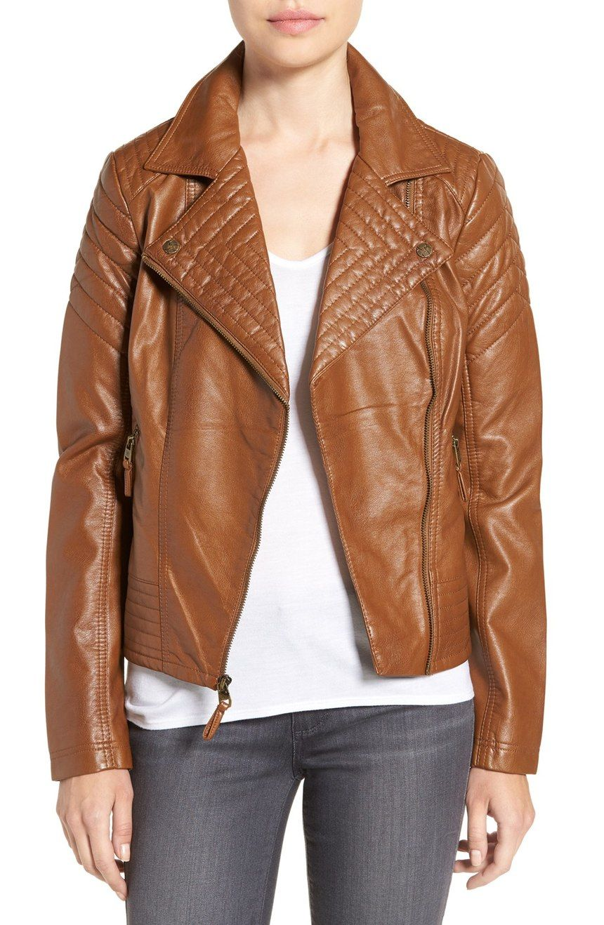 Jessica Simpson Quilted Faux Leather Jacket Leather