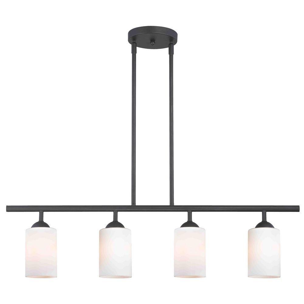 Modern black linear pendant light with white glass lt in