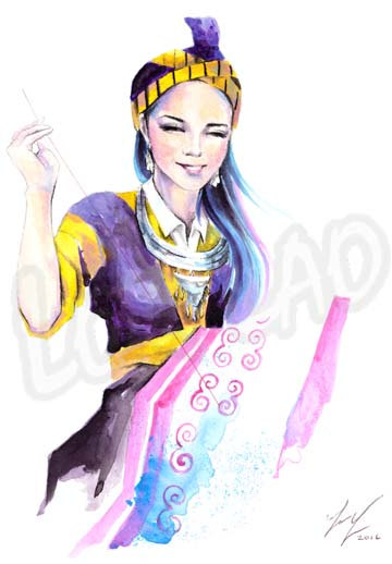 sewing Hmong art painting Watercolor woman by StudioLorLao on Etsy
