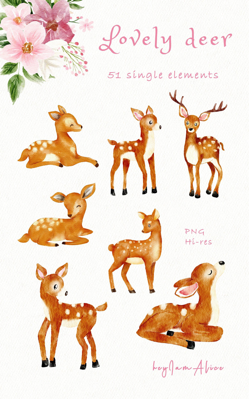 Baby Deer Clipart Pink Watercolor Deer Png Free Commercial Etsy Animal Clipart Nursery Art Decor Baby Deer