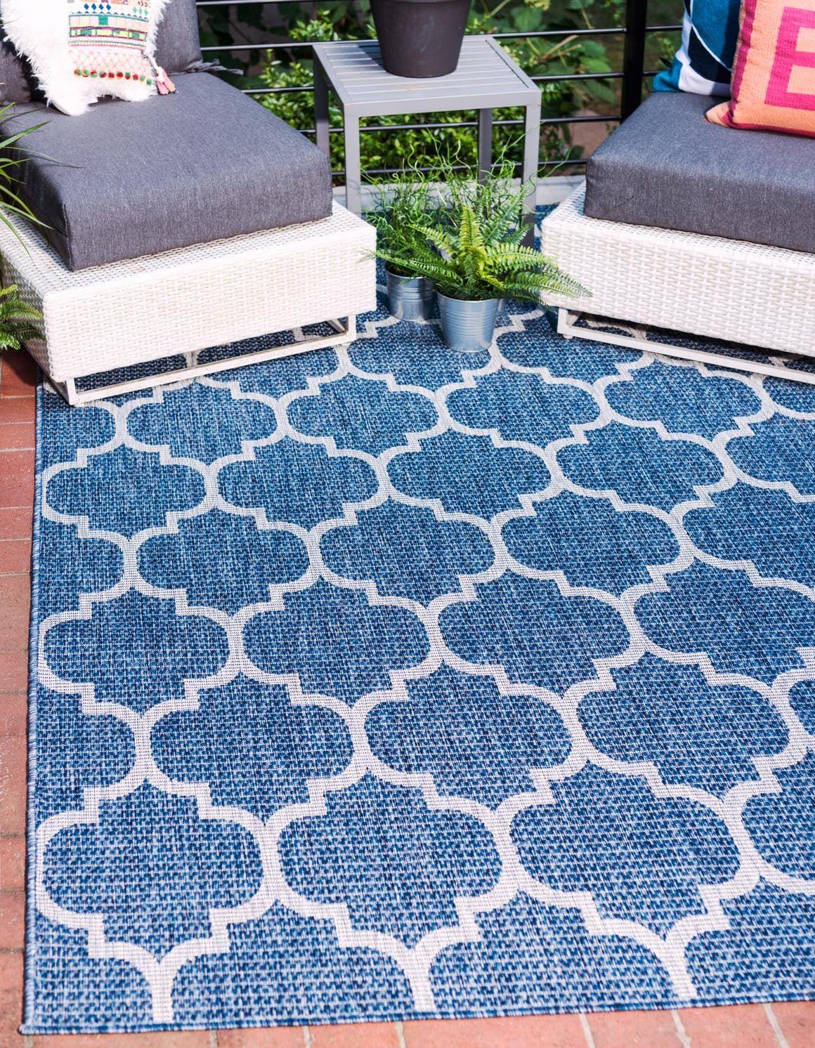 Blue 9 X 12 Outdoor Lattice Rug Rugs Com In 2020 Blue Outdoor Rug Outdoor Trellis Trellis Rug