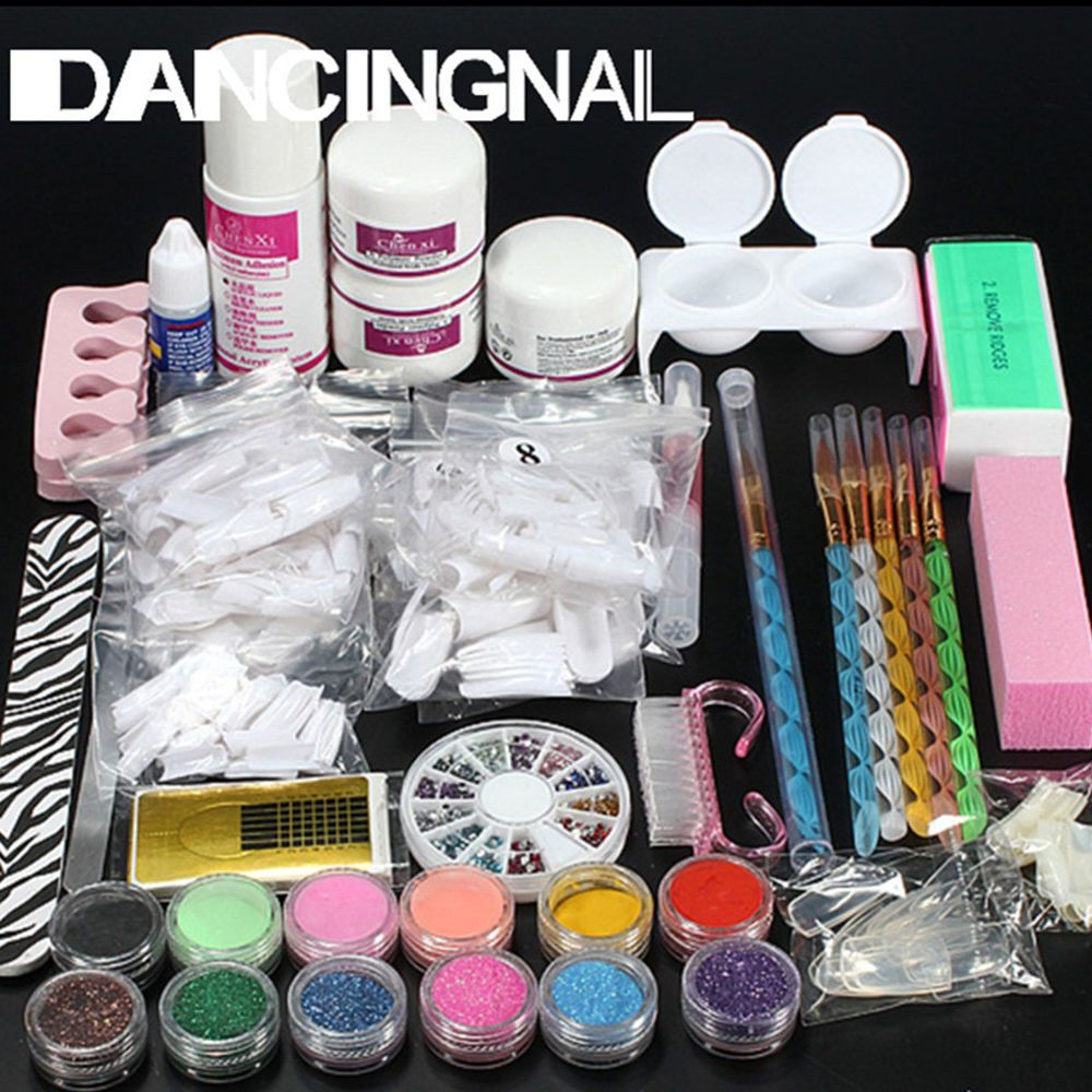 Full Acrylic Powder Glitter Nail Art Brush Glue File Tip Nail Art ...