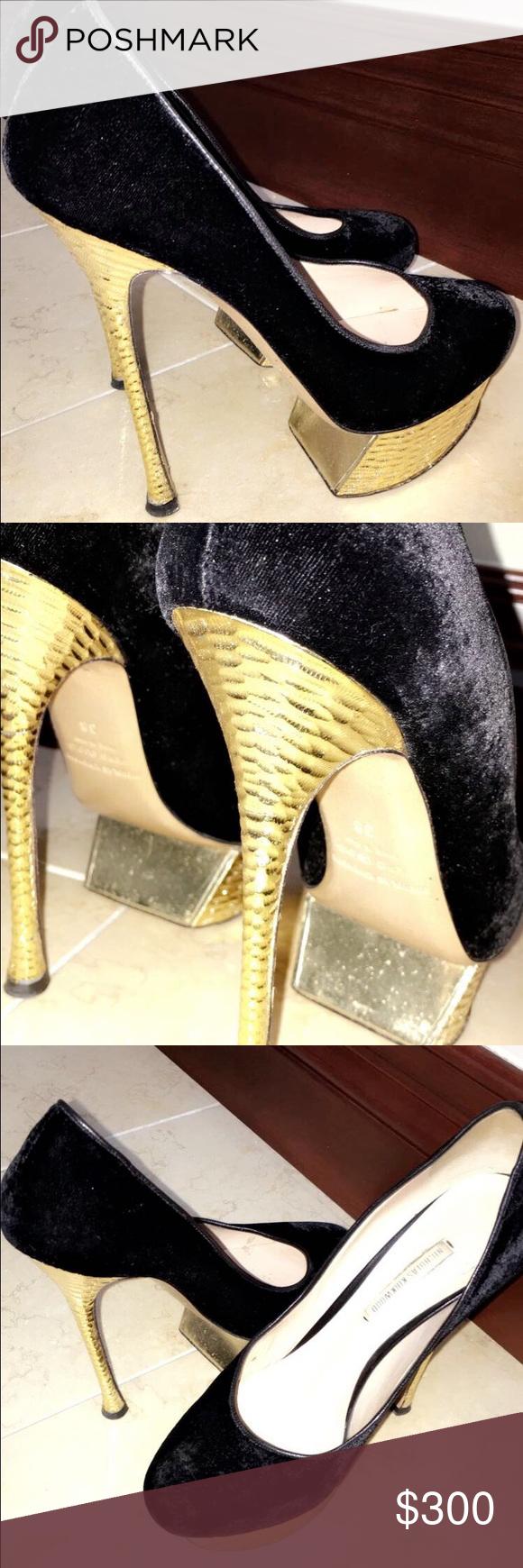 Nicholas kirkwood shoes, Heels, Gold heels