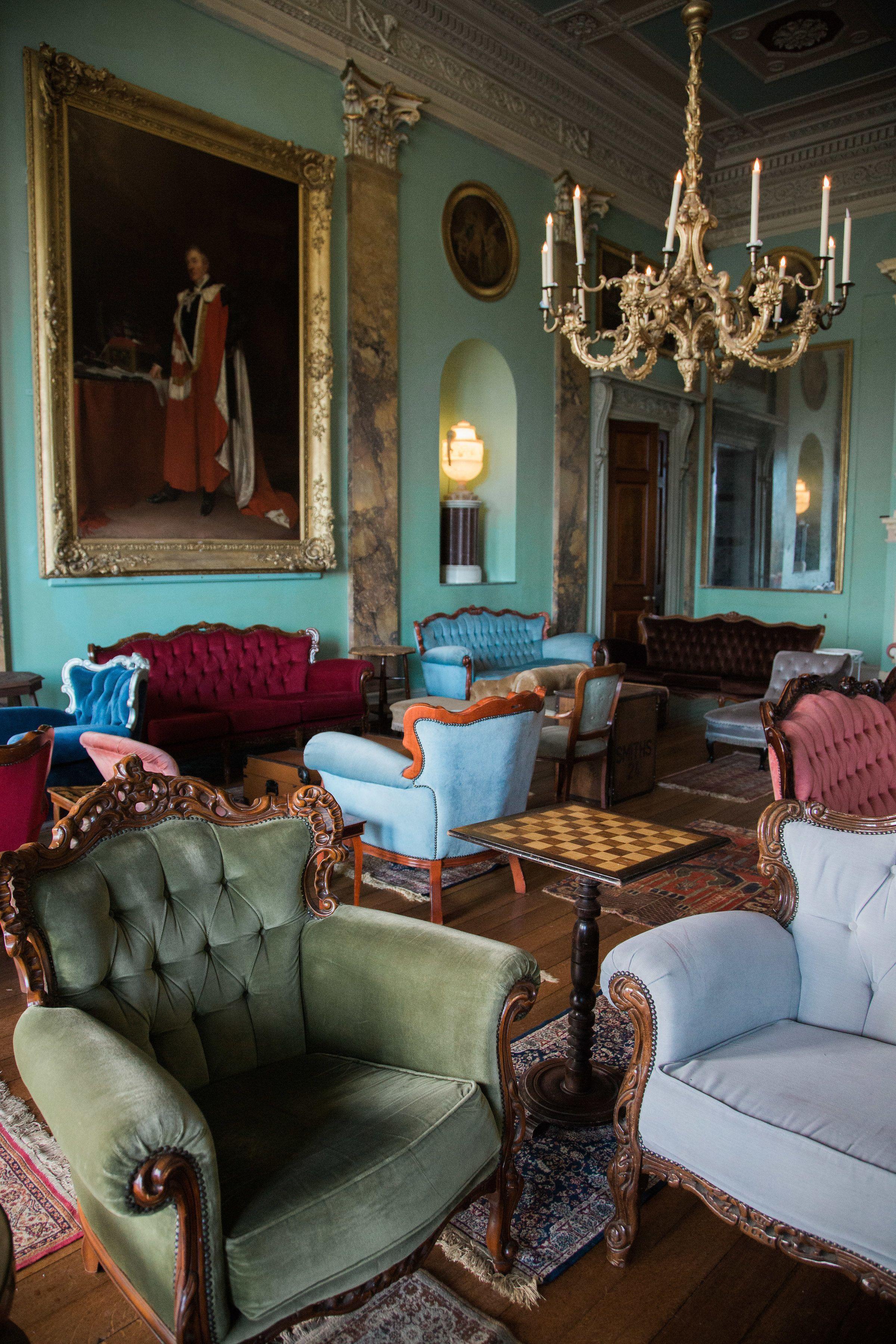 Vinatge Sofa Wedding Set Up At Powderham Castle. Image By