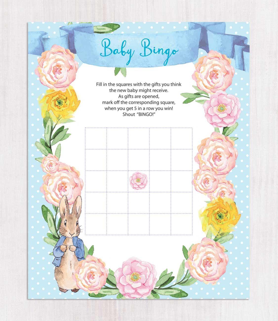 Peter Rabbit Baby Shower Bingo Cards, Blank Bingo Cards, Beatrix ...