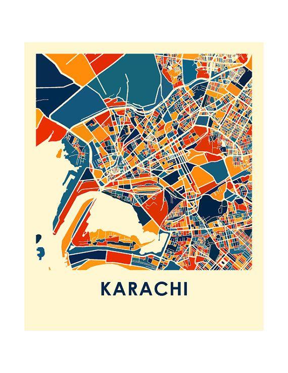 Karachi Map Print - Full Color Map Poster | Pakistan and