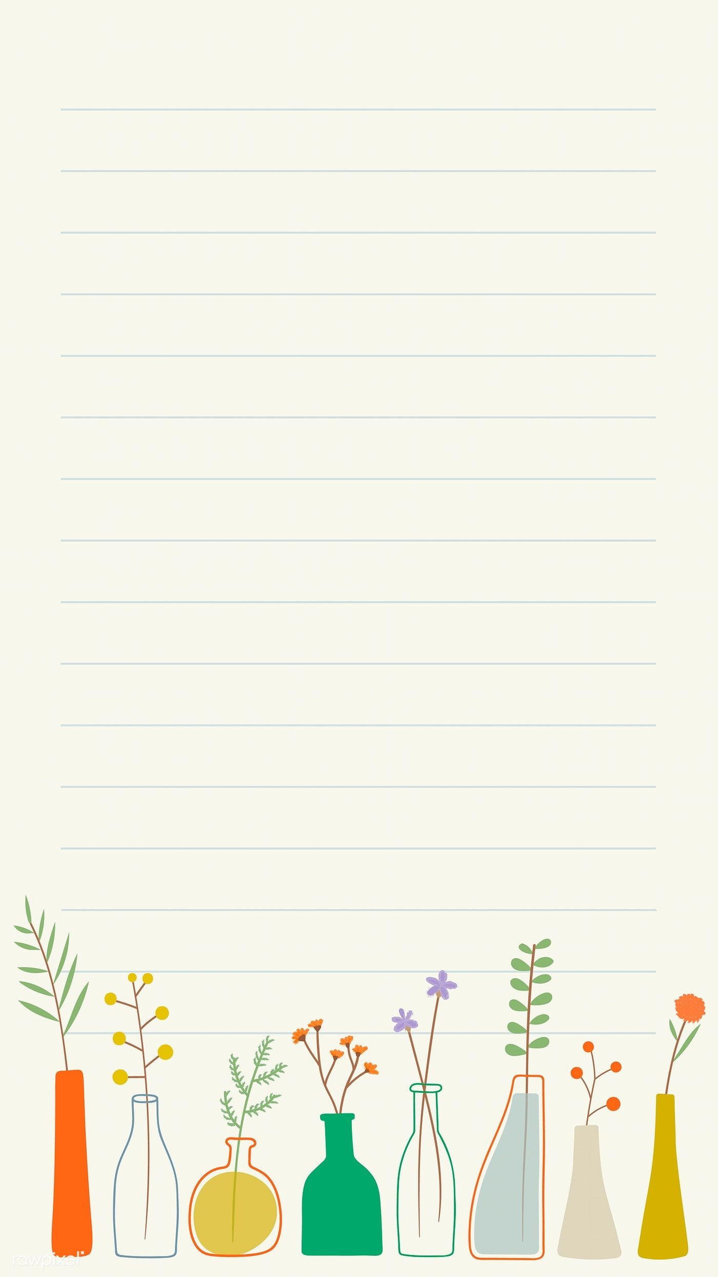 Download premium vector of Doodle flowers in vases note paper template mobile phone wallpaper vector by marinemynt about note cartoon, flower vase decoration, background, blank, and blue 1222901