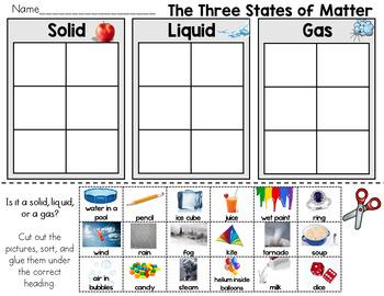 Solid Liquid And Gas Worksheets For Kindergarten