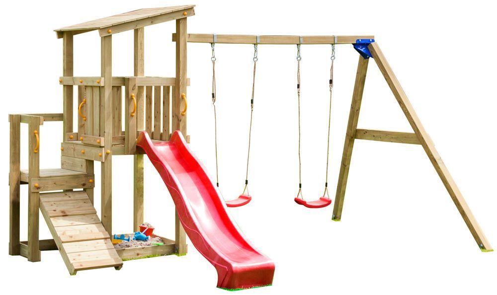 Blue Rabbit Spielturm Cascade Mit Rutsche Doppelschaukel Kletterrampe Kinder Hof Schaukel Garten Spielturm