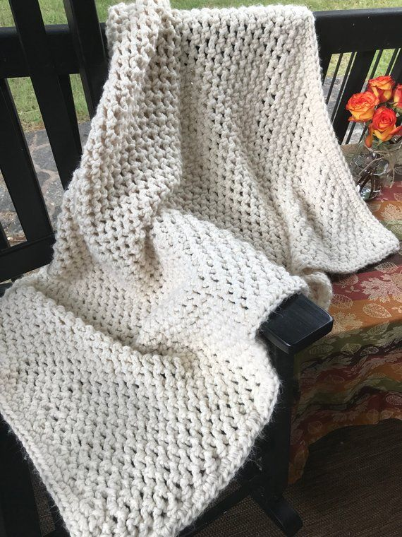 Chunky Crochet Blanket In Creamoff White Chunky Afghan Products