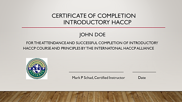 Haccp Training Train Certificate Of Completion Alliance