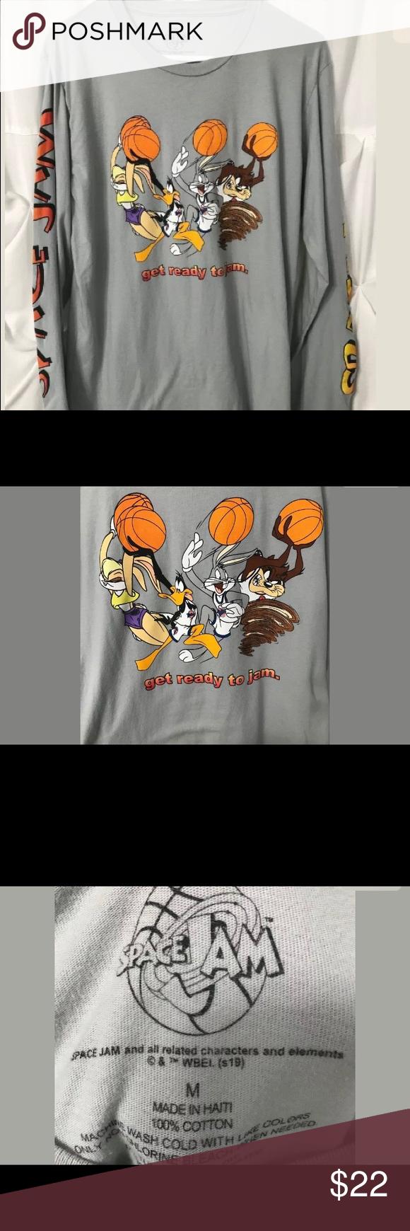 Space Jam Unisex Ls T Shirt Gray Looney Toons Space Jam Unisex Long Sleeve T Shirt Gray Good Condition Shirts Grey Men S Long Sleeve T Shirt Long Sleeve Tees