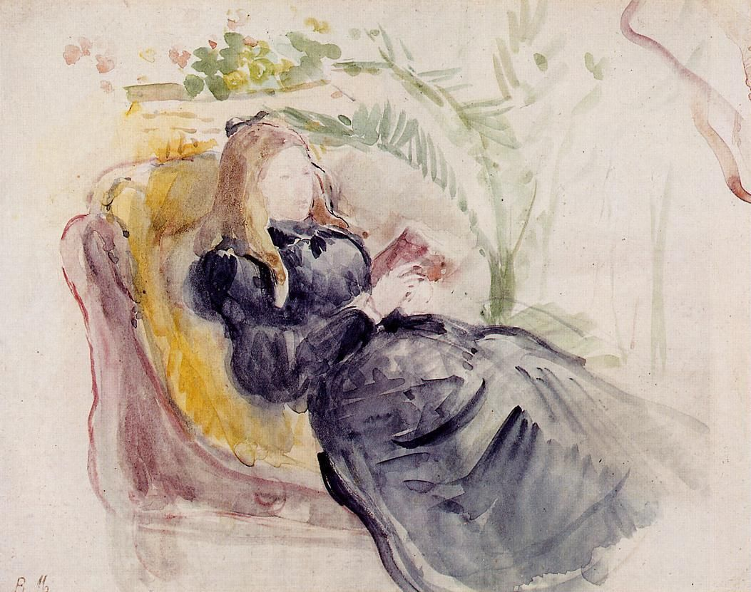 Julie Manet Reading In A Chaise Lounge 1890 Berthe Morisot