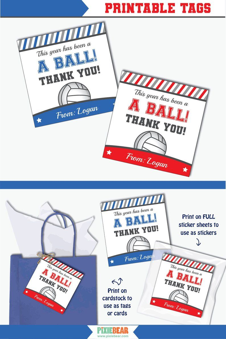 Volleyball Coach Card Printable Teacher Appreciation Tag Or Etsy Teacher Appreciation Printables Teacher Printable Personalized Thank You Cards