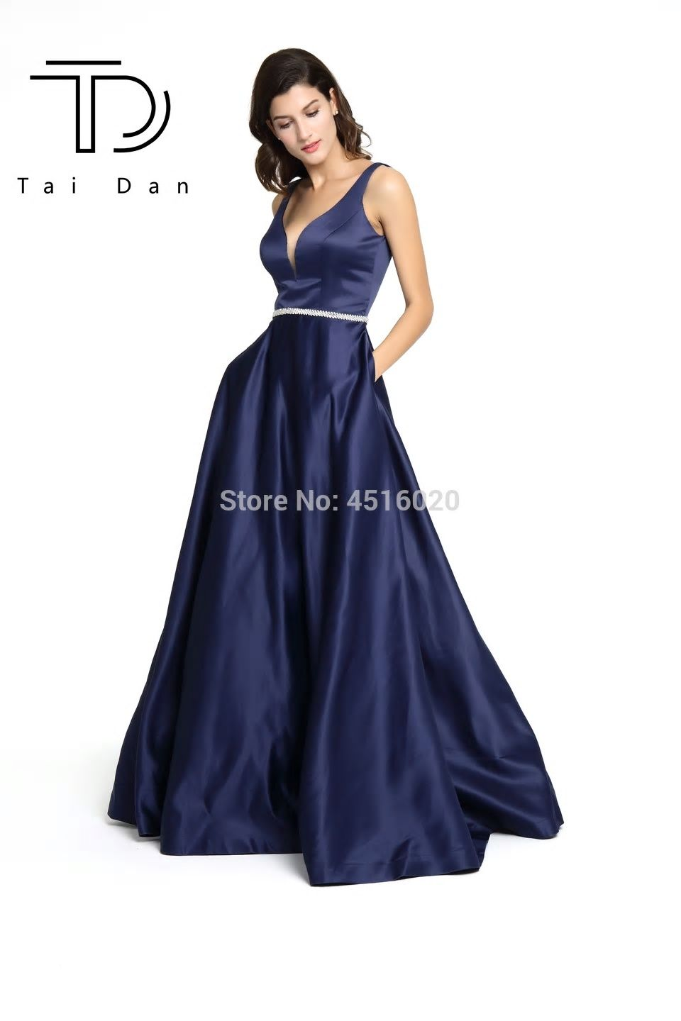 0f3772455c0 A-line Deep V-neck Sleeveless Satin Formal Evening Long Prom Evening Dress  Open Back Shining Stone Belt Girl Dress Party Gown