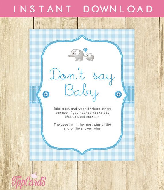 Baby Shower Clothes Pin Game Don't Say Baby Game Baby Shower Games Printable Elephant Don't Say