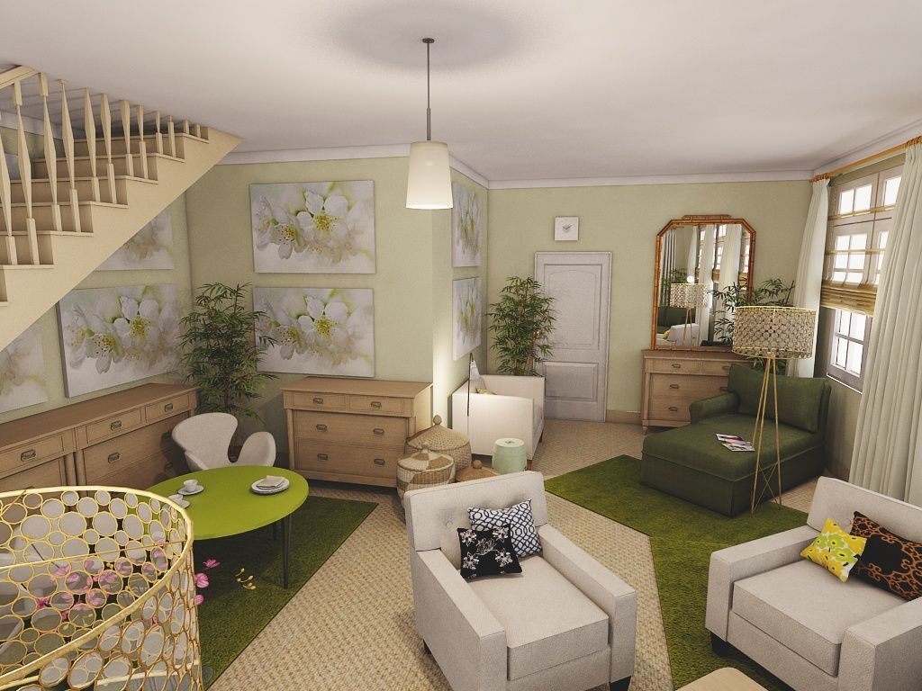 iCanDesign Living Room Traditional bedroom, 3d interior