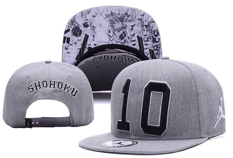 3970f6cf6d1 Men s Nike Air Jordan x Slam Dunk Shohoku No 10 Baseball Snapback Hat -  Grey   Black