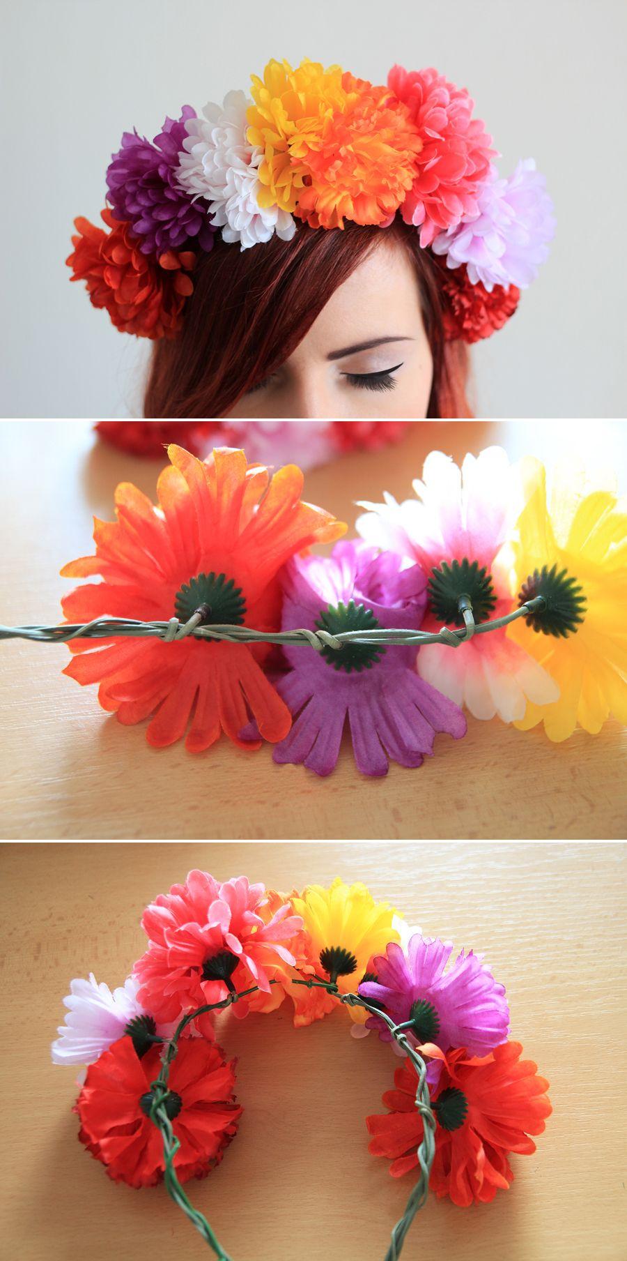 Diy Headband Fake Flower Crown My Diy Diy Flower Crown