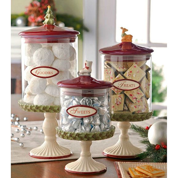 Christmas Glass Candy Canisters: Set of 3 | CandyWarehouse.com Online Candy Store