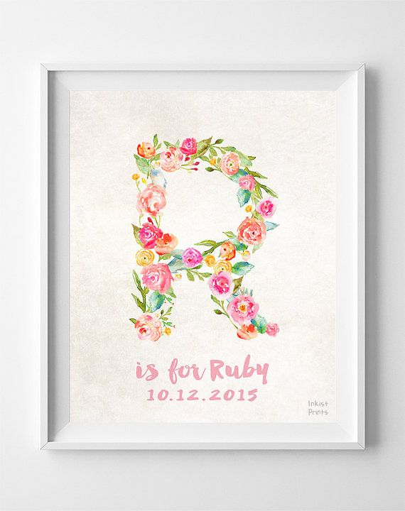 Typographic print alphabet print initials custom initial print nursery art print ruby custom name personalized by inkistprints negle Choice Image