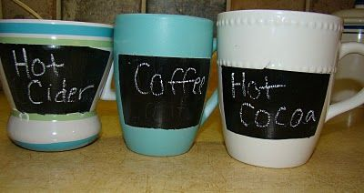 Chalkboard mugs... maybe paint the whole outside of a smooth mug? And definitely use those chalk markers for neatness