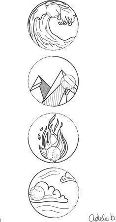 4 Element symbols Water, earth, fire and air. Tattoo idea