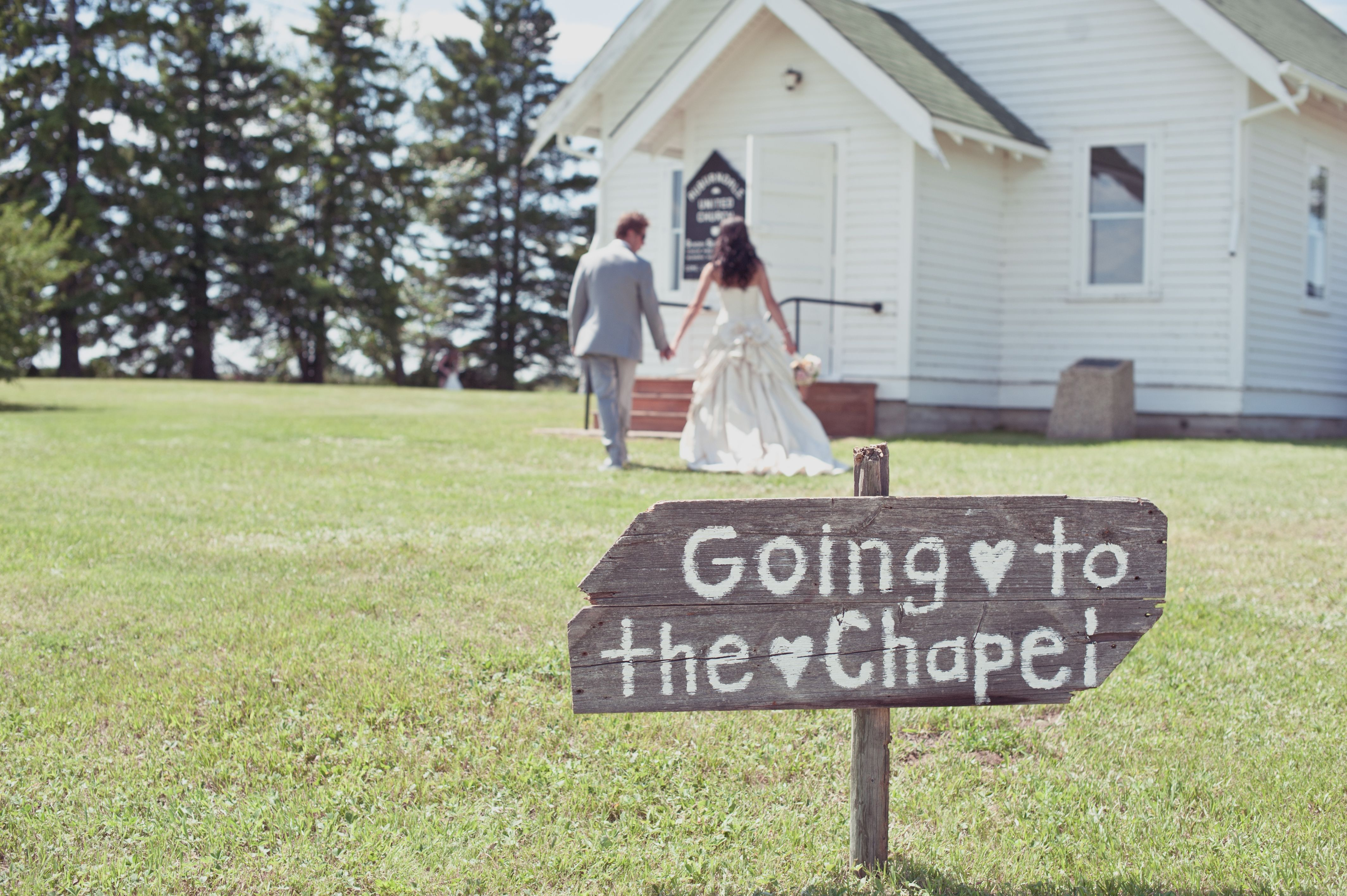 little white country church wedding