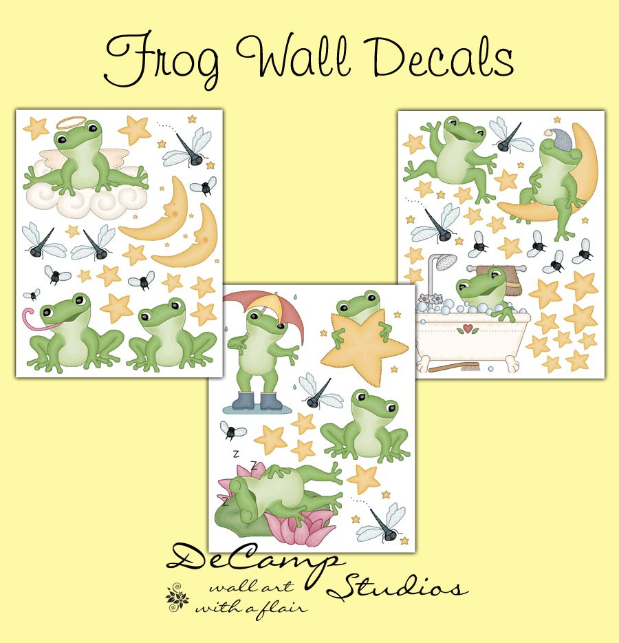 Frog wall decals for baby boy or girl nursery or children\'s froggy ...