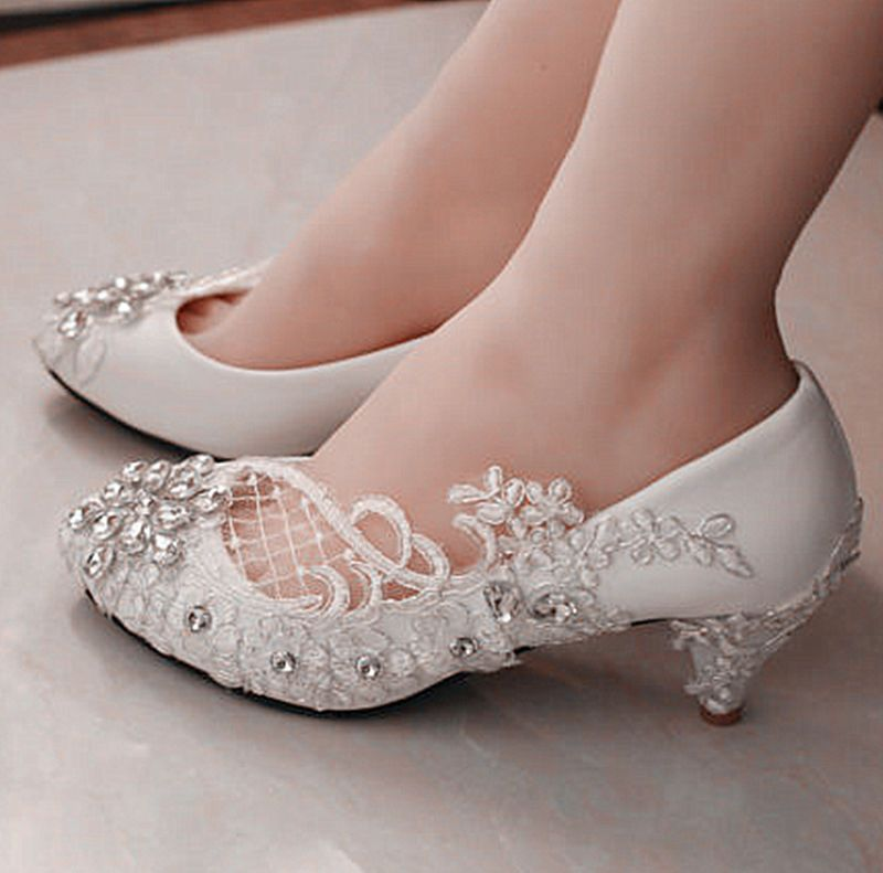 Lace white ivory crystal Wedding shoes Bridal flats low high heel ...