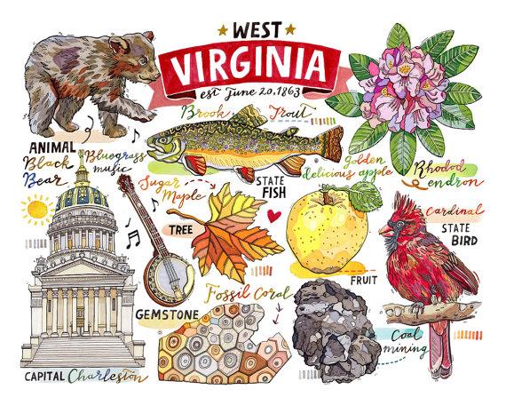 West Virginia Print State Symbols Illustration Map Charleston