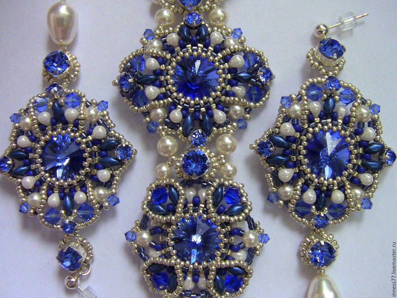 """Купить Комплект """"Майолика"""" - синий, комплект украшений, бисерное украшение, серьги, браслет, японский бисер"""