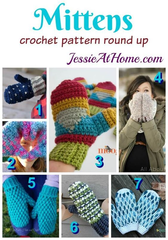 Mittens free crochet pattern round up from Jessie At Home: | Mittens ...