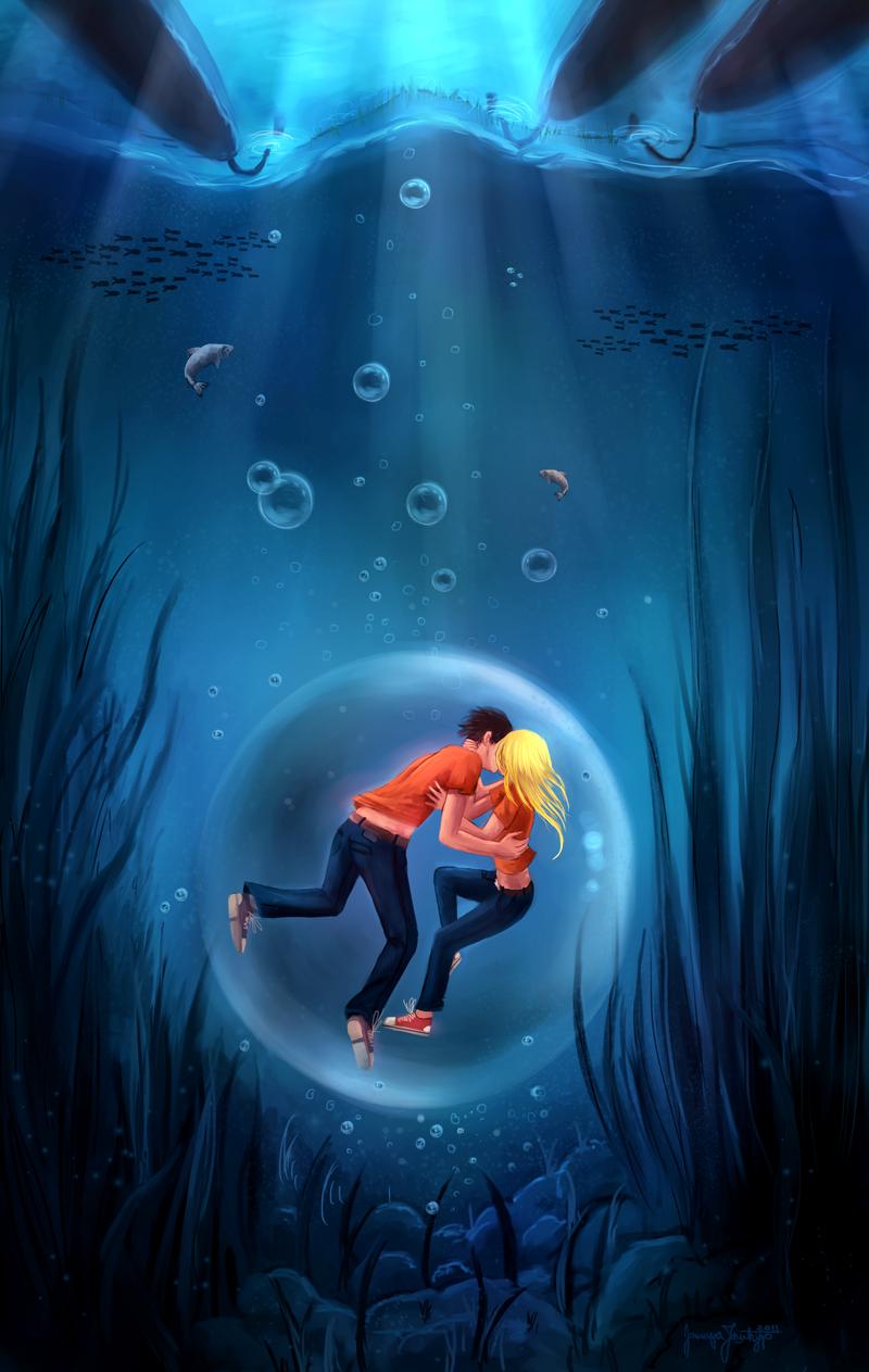 Couples Of Percy Jackson Series Fan Art Underwater Kiss Percy Jackson Wallpaper Percy Jackson Art Percy Jackson Fan Art