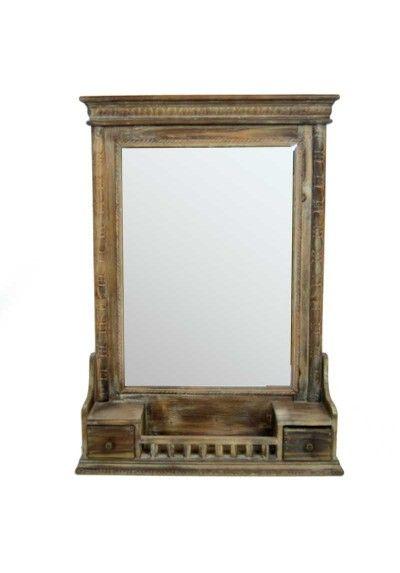 Espejo de madera estilo vintage en 2019 espejos for Espejo madera envejecida