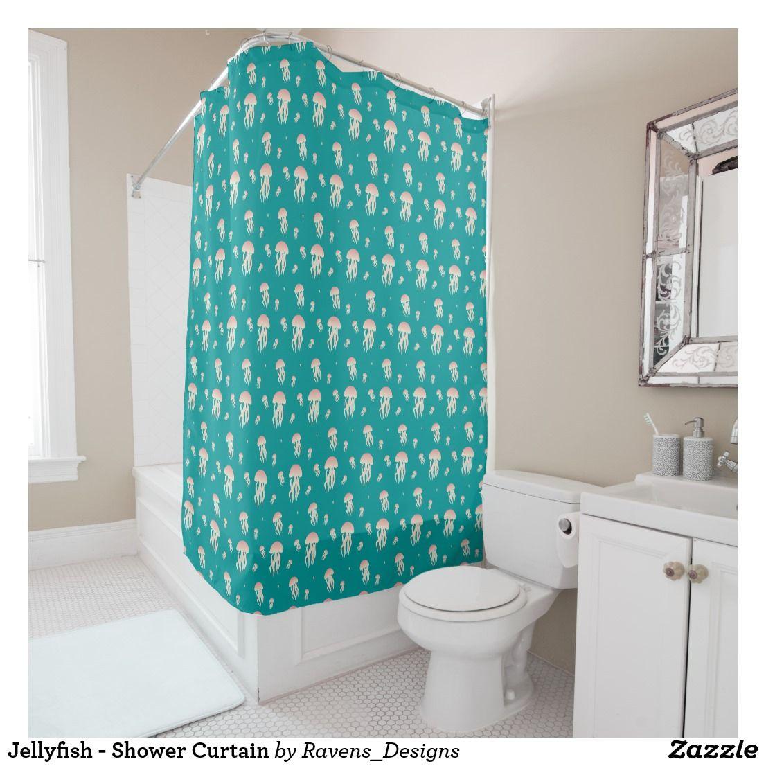 Jellyfish Shower Curtain Zazzle Com Blue Shower Curtains