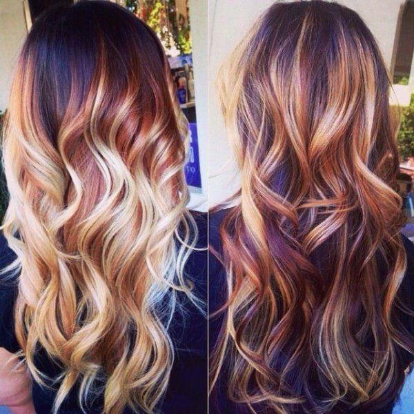 Dark Auburn Hair Color With Blonde Highlights Hair Pinterest