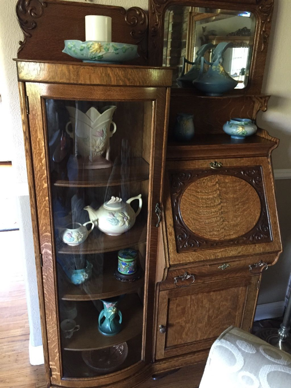 antique quartersawn oak secretary curio desk ebay quartersawn