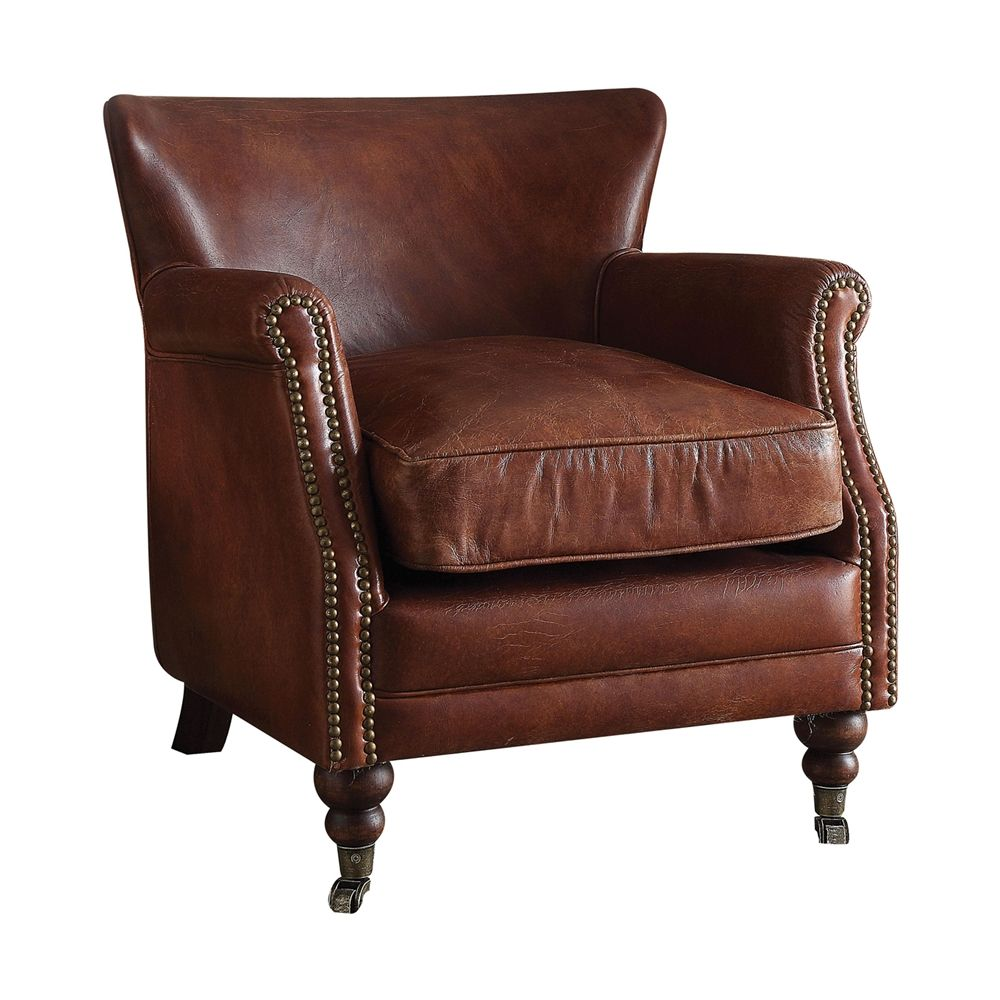 Discount Leather Chairs Shop Acme Furniture 96679 Leeds Accent Chair At The Mine Browse
