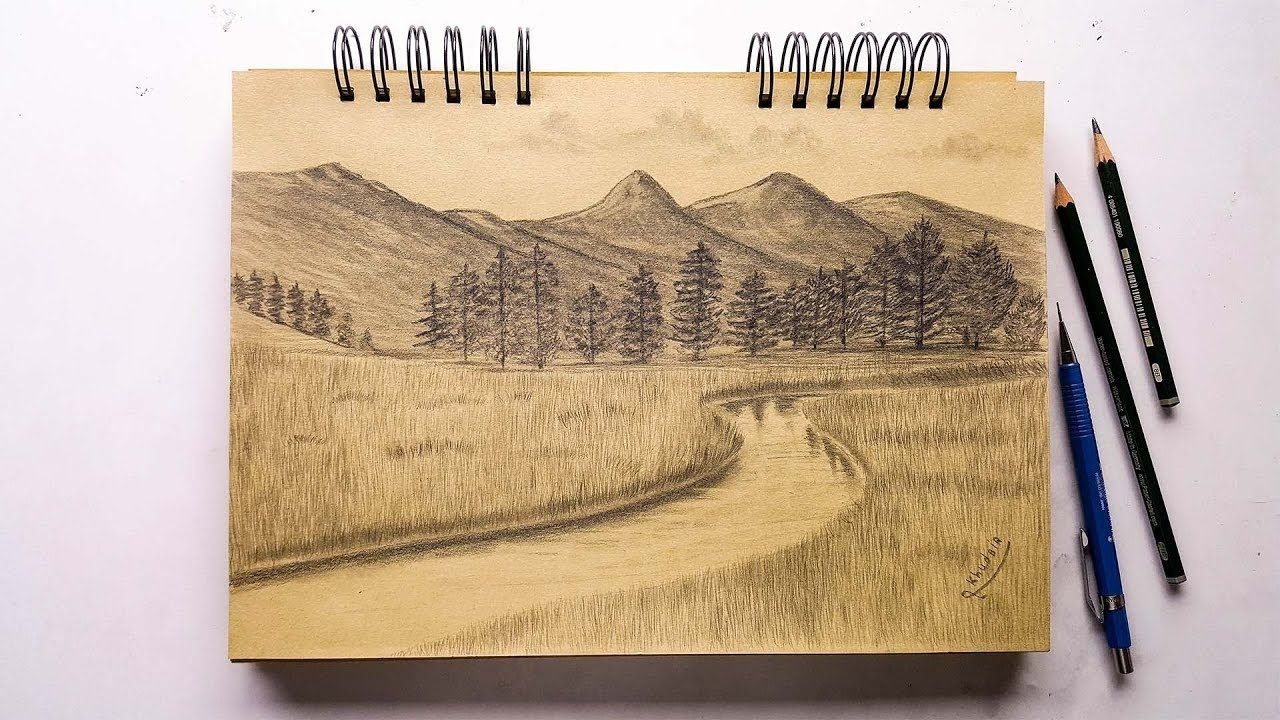 How To Draw A Simple And Easy Landscape With Pencils Drawings Landscape Pencil