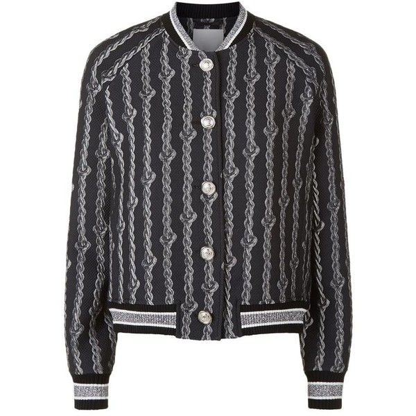 3.1 Phillip Lim Jacquard Varsity Bomber Jacket ($755) ❤ liked on Polyvore featuring outerwear, jackets, varsity jacket, teddy jacket, letterman jackets, grey letterman jacket and sports letterman jackets