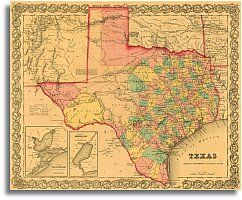 Map Of Central Texas Counties.1855 Texas County Map By J H Colton Wall Decor Texas County Map