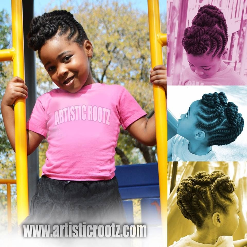 Artistic Rootz Double Strand Twists Updo Hairstyle On Little Girls
