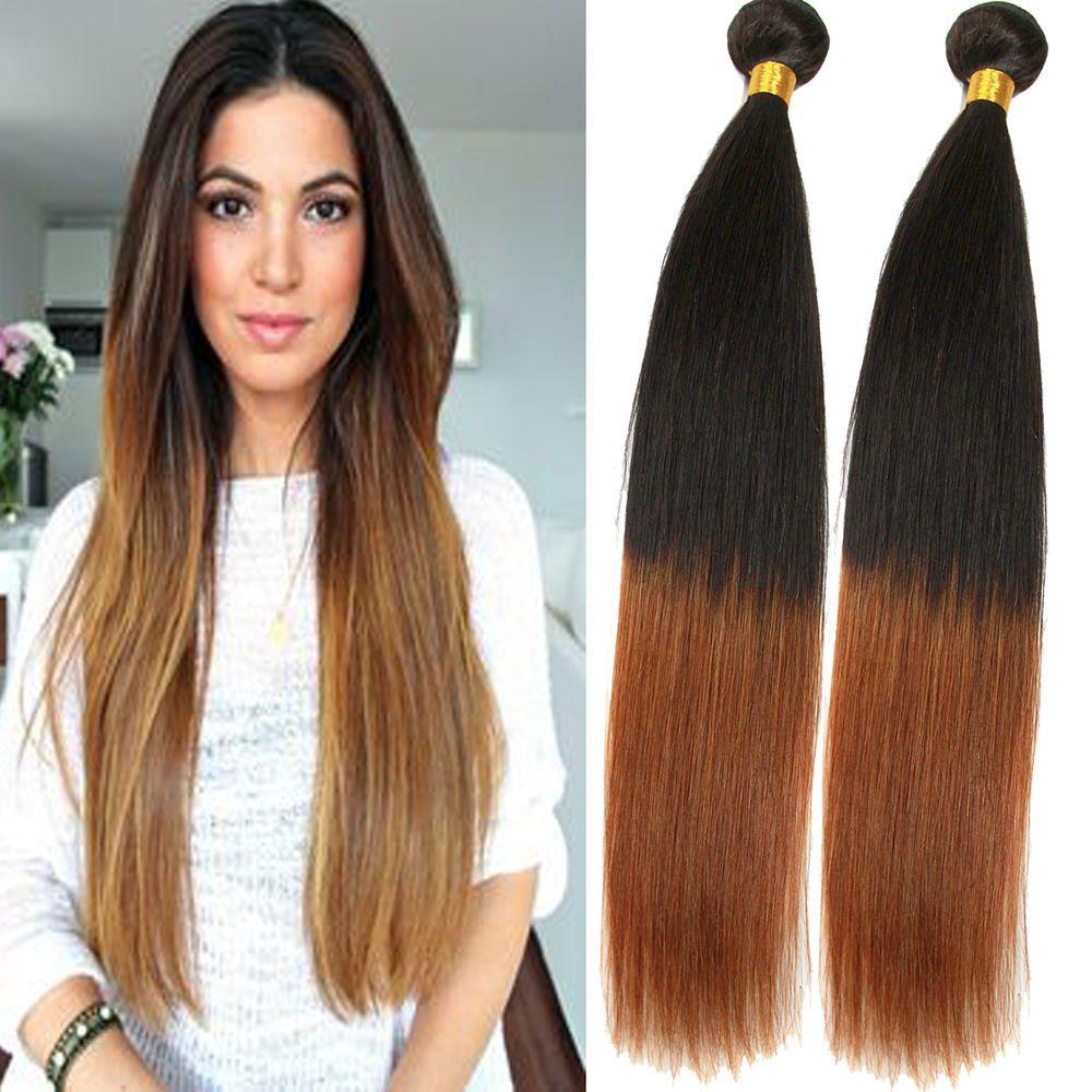 "US Hot Brazilian Ombre Human Hair STRAIGHT 1B/30# 50g/Bundles Hair Weft 12""-20"" #wigiss #HairExtension"